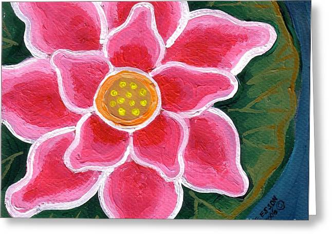 Lily Pad Greeting Cards Greeting Cards - Pink Lily Pad Greeting Card by Genevieve Esson
