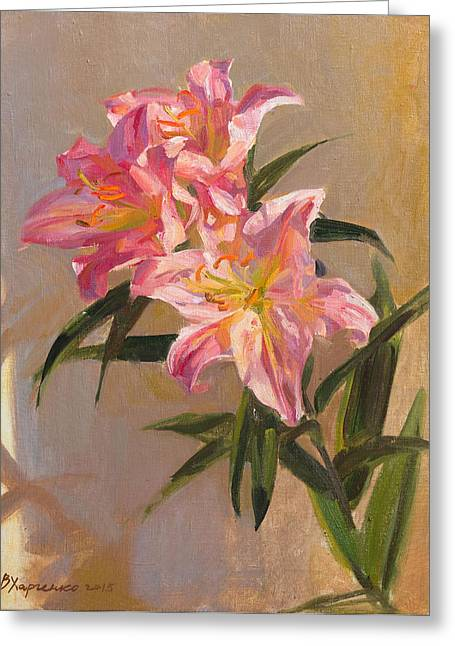 Flower Still Life Greeting Cards - Pink lily Greeting Card by Victoria Kharchenko