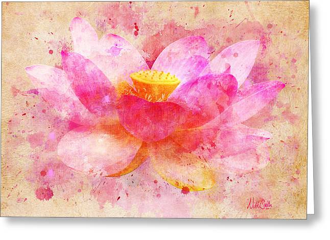 Sacred Digital Art Greeting Cards - Pink Lotus Flower Abstract Artwork Greeting Card by Nikki Marie Smith