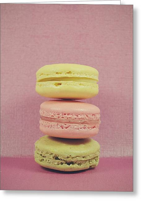 Still Life Photographs Greeting Cards - Pink macarons Greeting Card by Nastasia Cook