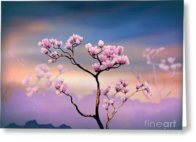 Outdoor Images Greeting Cards - Pink Magnolia - Bright Version Greeting Card by Bedros Awak