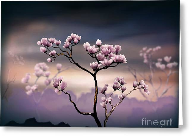 Outdoor Images Greeting Cards - Pink Magnolia - Dark Version Greeting Card by Bedros Awak
