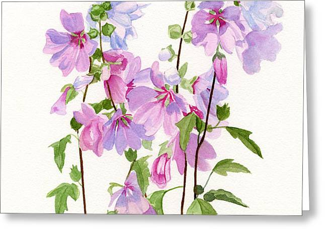 Pink Mallow Flowers Greeting Card by Sharon Freeman