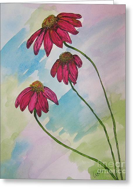 Abstracted Coneflowers Greeting Cards - Pink Greeting Card by Marcia Weller-Wenbert