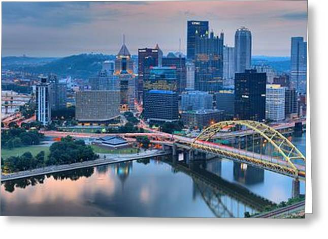 City Of Champions Greeting Cards - Pink Monongahela Reflections Greeting Card by Adam Jewell
