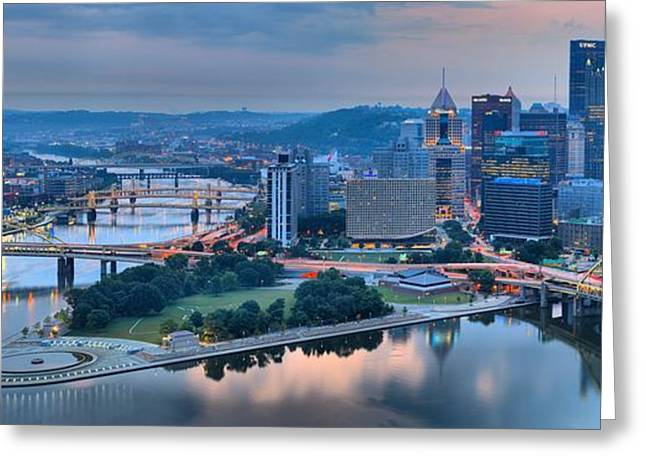 Incline Greeting Cards - Pink Monongahela Reflections Panorama Greeting Card by Adam Jewell