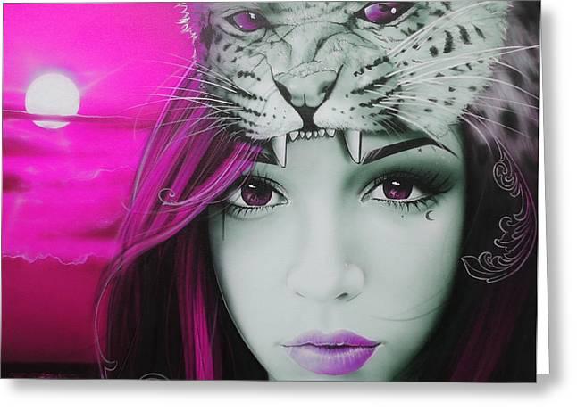 'Pink Moon' Greeting Card by Christian Chapman Art