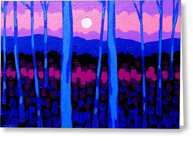 Treescape Greeting Cards - Pink Moon Greeting Card by John  Nolan