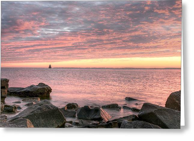Sandy Point Park Greeting Cards - Pink Morning Greeting Card by JC Findley