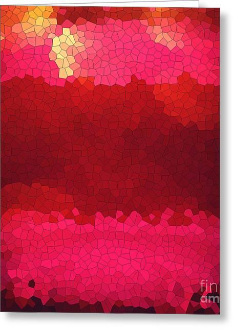 Red Wine Prints Greeting Cards - Pink Mosaic Greeting Card by Anita Lewis