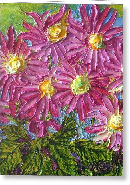 Paris Wyatt Llanso Greeting Cards - Pink Mums Greeting Card by Paris Wyatt Llanso