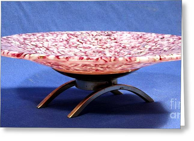 Warm Glass Art Greeting Cards - Pink Murrini Bowl with Stand Image B Greeting Card by P Russell