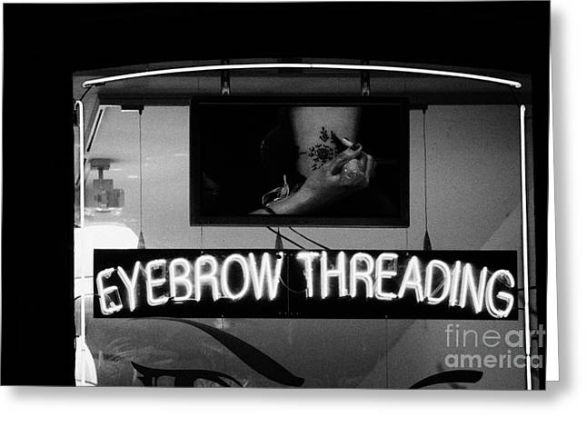 Pink Neon Eyebrow Threading Sign In Shop Window  Greeting Card by Joe Fox