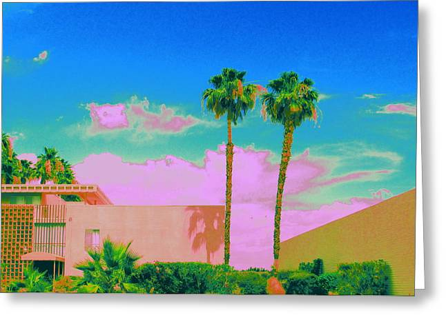 Modernism Greeting Cards - Pink Oasis Greeting Card by Randall Weidner