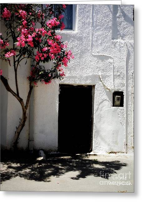 Pink Oleander By The Door Greeting Card by Lainie Wrightson