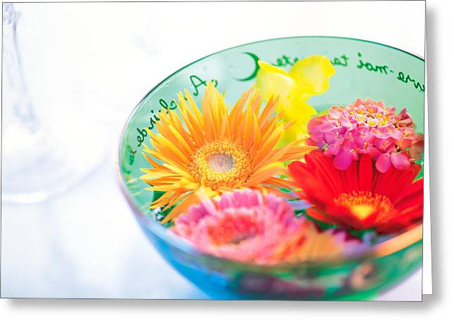 Floating Flowers Greeting Cards - Pink, Orange And Yellow Flowers Greeting Card by Panoramic Images