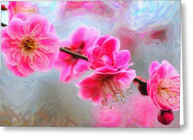 Paradise Road Paintings Greeting Cards - Pink orchid  Flowers Greeting Card by MotionAge Designs