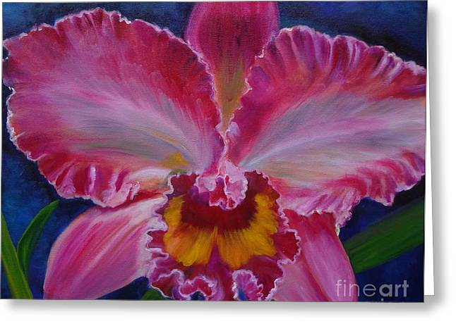 Cattleya Greeting Cards - Pink Orchid Greeting Card by Jenny Lee