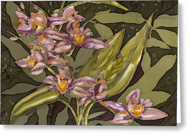 Flower Still Life Tapestries - Textiles Greeting Cards - Pink Orchids Greeting Card by Artimis Alcyone