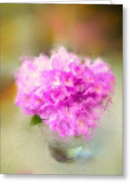 Pink Painted Rhododendrom Greeting Card by Mary Timman