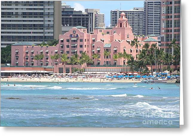 Mary Deal Greeting Cards - Pink Palace on Waikiki Beach Greeting Card by Mary Deal