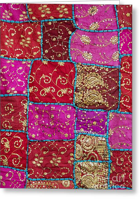 Pink Patchwork Indian Wall Hanging Greeting Card by Tim Gainey