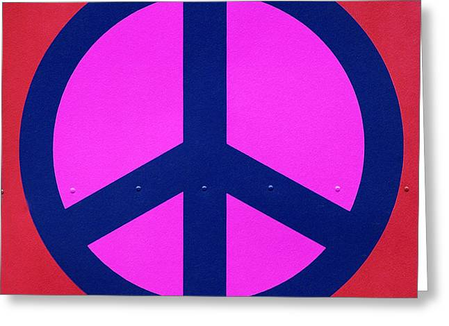 Peace Symbol Greeting Cards - Pink Peace Symbol Greeting Card by Art Block Collections
