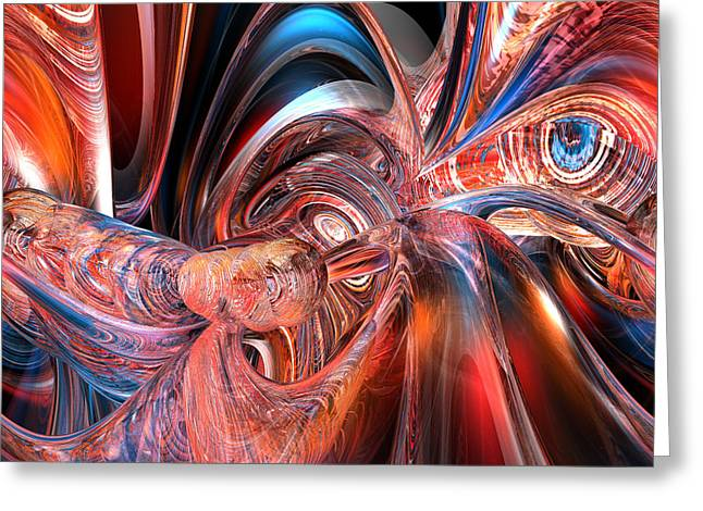 Tion Greeting Cards - Pink Peacock Abstract Fx  Greeting Card by G Adam Orosco
