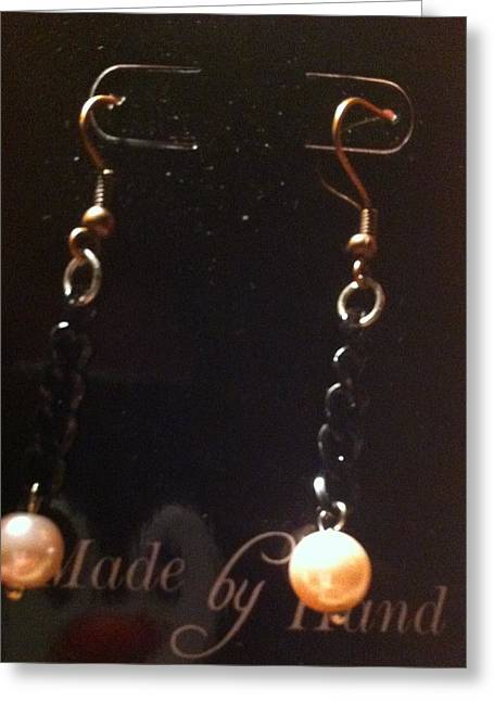 Chain Jewelry Greeting Cards - Pink Pearl and Black Chain Earrings Greeting Card by Kimberly Johnson