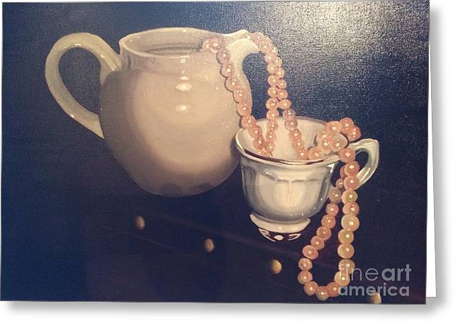 Photorealistic Paintings Greeting Cards - Pink pearls Greeting Card by Xan Xeixo