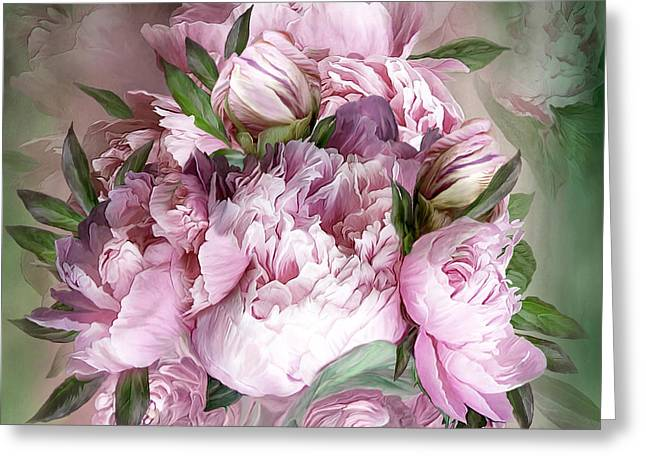 Peony Art Greeting Cards - Pink Peonies Bouquet - Square Greeting Card by Carol Cavalaris