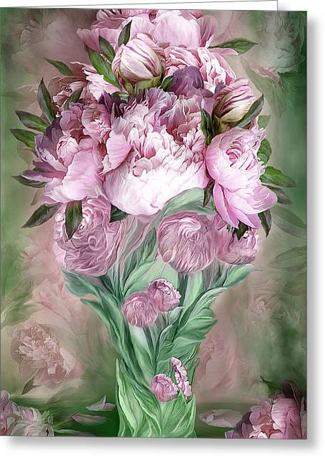 Vase Of Flowers Mixed Media Greeting Cards - Pink Peonies In Peony Vase Greeting Card by Carol Cavalaris
