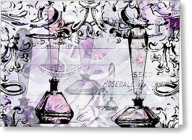 Powder Greeting Cards - Pink Perfume Bottles Collage Greeting Card by ArtyZen Studios - ArtyZen Home