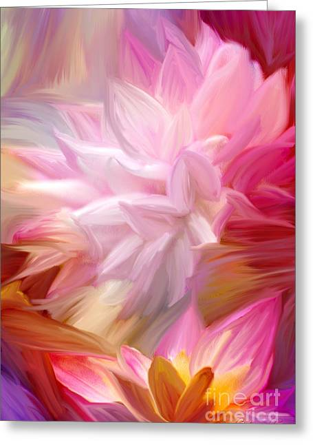 Floral Photos Mixed Media Greeting Cards - Pink Petal Painting Greeting Card by Brandi Fitzgerald