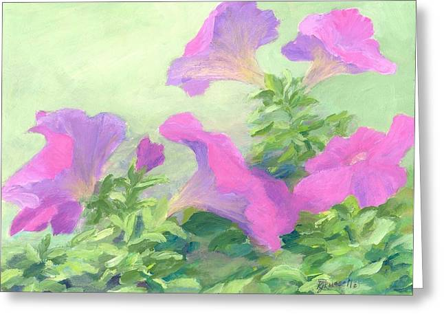 K Joann Russell Greeting Cards - Pink Petunias Beautiful Flowers Art Colorful Original Garden Floral Flower Artist K. Joann Russell  Greeting Card by K Joann Russell