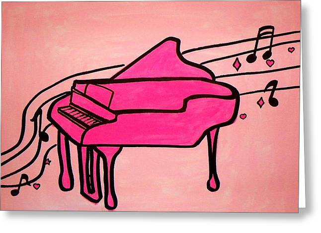 Recently Sold -  - Floating Girl Greeting Cards - Pink Piano Greeting Card by Marisela Mungia