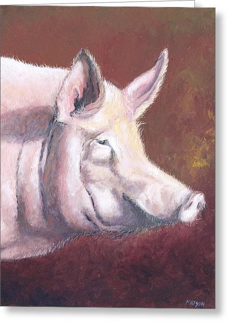 Pig Photos Greeting Cards - Pink Pig Greeting Card by Jan Matson