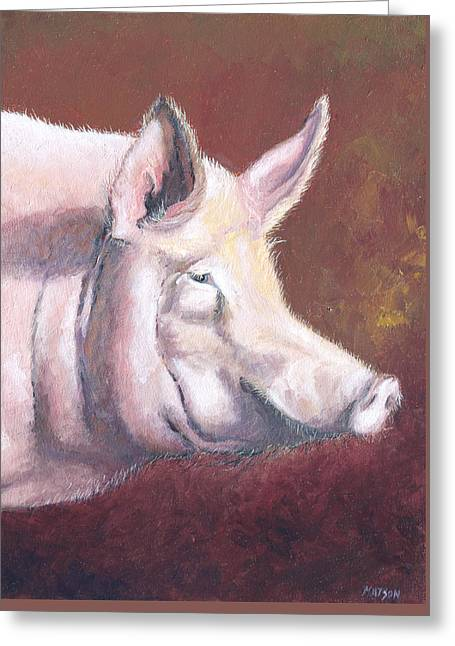 Modern Canvas Art Photo Greeting Cards - Pink Pig Greeting Card by Jan Matson