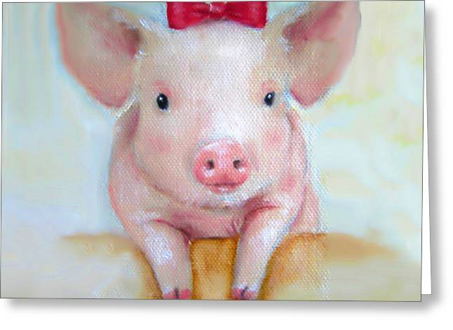 Piglets Greeting Cards - Pink Pig Nursery Art Canvas Print Greeting Card by Junko Van Norman
