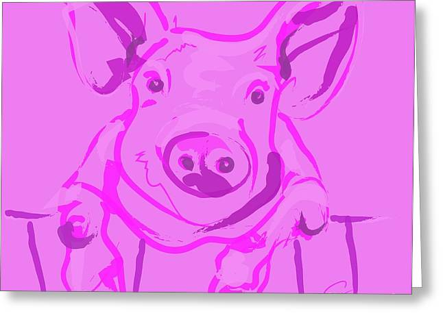 Modern Art Greeting Cards - Pink Piggy Greeting Card by Go Van Kampen