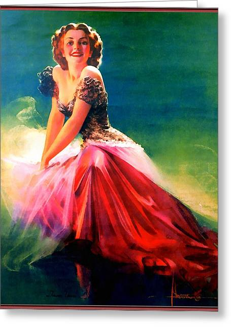 Pin-up Model Greeting Cards - Pink Pin Up Model Greeting Card by Rolf Armstrong