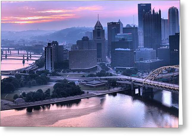 Incline Greeting Cards - Pink Pittsburgh Morning Greeting Card by Adam Jewell