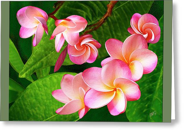 Pink Plumeria Greeting Card by Ben and Raisa Gertsberg