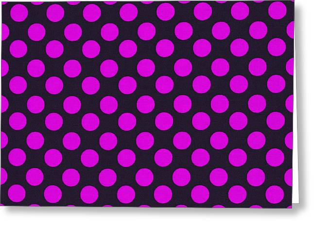 Ornamentation Greeting Cards - Pink Polka Dots On Black Fabric Background Greeting Card by Keith Webber Jr