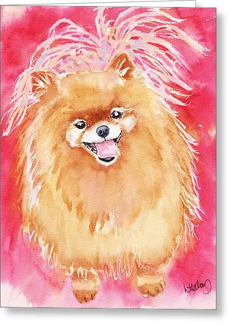 Pomeranian Greeting Cards - Pink Pom Greeting Card by Linda Halom