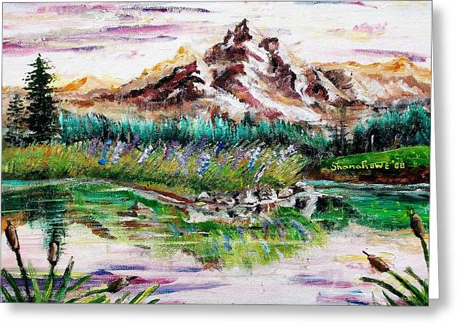 Mound Paintings Greeting Cards - Pink Pond Greeting Card by Shana Rowe