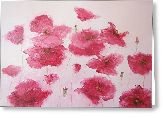 Lounge Paintings Greeting Cards - Pink Poppies by Jan Matson Greeting Card by Jan Matson