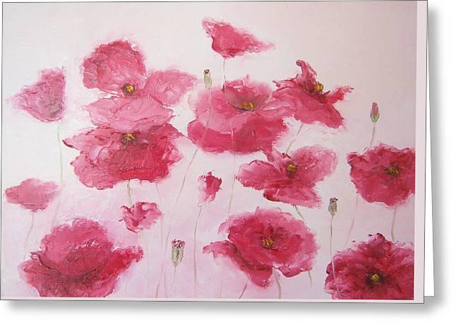 Pink Flower Prints Greeting Cards - Pink Poppies by Jan Matson Greeting Card by Jan Matson