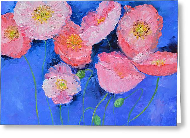Pink Poppies On Blue  Greeting Card by Jan Matson