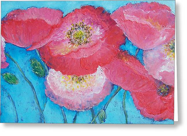 Pink Flower Prints Greeting Cards - Pink Poppies on light blue Greeting Card by Jan Matson